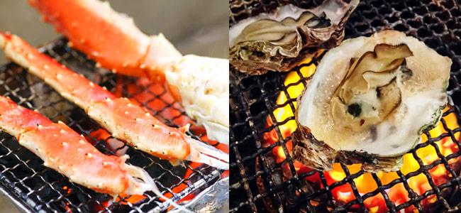 焼きガニ焼き牡蠣